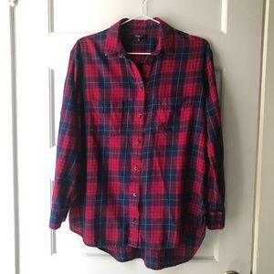 Madewell Red Navy Plaid Button Up Shirt